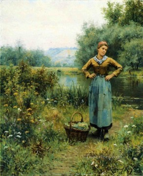 Daniel Ridgway Knight Painting - Girl in a Landscape countrywoman Daniel Ridgway Knight