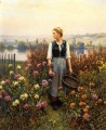 Girl with a Basket in a Garden countrywoman Daniel Ridgway Knight