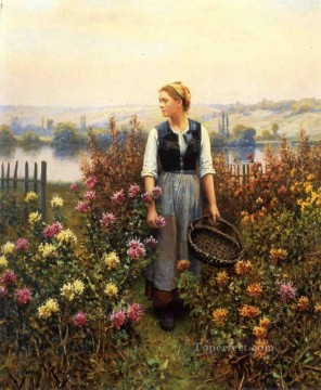 Daniel Ridgway Knight Painting - Girl with a Basket in a Garden countrywoman Daniel Ridgway Knight