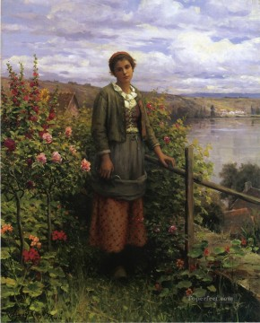 In Her Garden countrywoman Daniel Ridgway Knight Oil Paintings