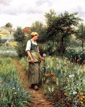 Daniel Ridgway Knight Painting - In the Garden countrywoman Daniel Ridgway Knight