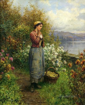 Daniel Ridgway Knight Painting - Julia on the Terrace countrywoman Daniel Ridgway Knight