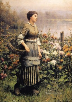 Maid Among the Flowers countrywoman Daniel Ridgway Knight Oil Paintings