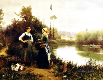 Daniel Ridgway Knight Painting - On the Way to Market countrywoman Daniel Ridgway Knight