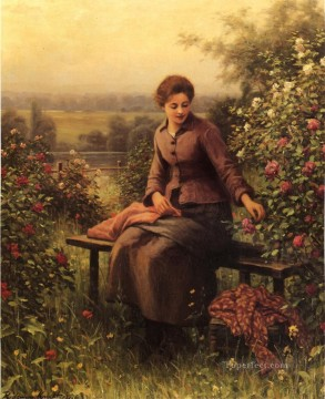 Daniel Ridgway Knight Painting - Seated Girl with Flowers countrywoman Daniel Ridgway Knight