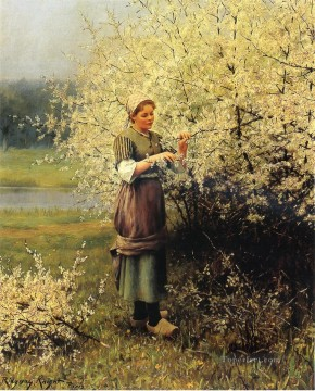 Spring Blossoms countrywoman Daniel Ridgway Knight Oil Paintings