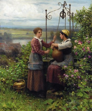 Daniel Ridgway Knight Painting - The Conversation countrywoman Daniel Ridgway Knight