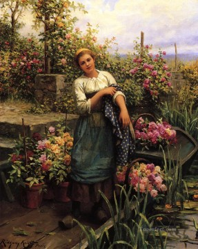 Daniel Ridgway Knight Painting - The Flower Boat countrywoman Daniel Ridgway Knight