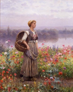 Daniel Ridgway Knight Painting - The flower girl countrywoman Daniel Ridgway Knight