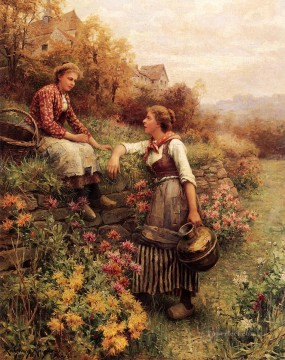Daniel Ridgway Knight Painting - Marie and Diane countrywoman Daniel Ridgway Knight