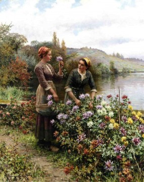 Girls Canvas - Peasant Girls in Flower Garden countrywoman Daniel Ridgway Knight