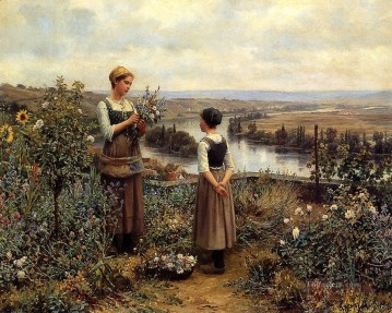 Daniel Ridgway Knight Painting - Picking Flowers countrywoman Daniel Ridgway Knight
