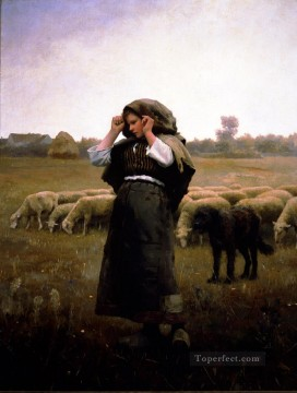 Daniel Ridgway Knight Painting - Shepardess and her Flock countrywoman Daniel Ridgway Knight