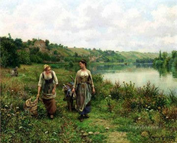 Daniel Ridgway Knight Painting - The Seine at Vernon countrywoman Daniel Ridgway Knight