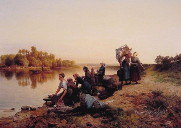 Daniel Ridgway Knight Painting - Wash Day countrywoman Daniel Ridgway Knight