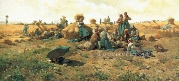 Daniel Ridgway Knight Painting - Peasants Lunching in a Field countrywoman Daniel Ridgway Knight