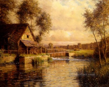Louis Aston Knight Painting - old mill in normandy Louis Aston Knight