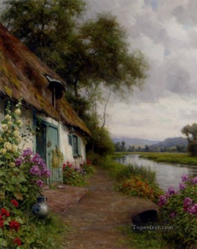 Louis Aston Knight Painting - A Riverside Cottage Louis Aston Knight