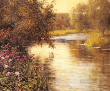Louis Aston Knight Painting - Spring Blossoms Along A Meandering River Louis Aston Knight
