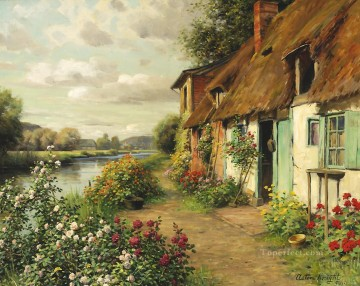 Louis Aston Knight Painting - The Blue Cottage Louis Aston Knight