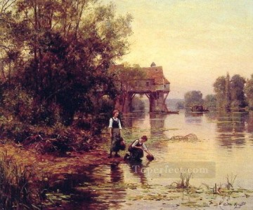 stream Painting - Two Girls by a Stream Louis Aston Knight
