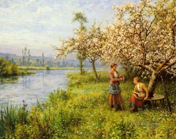 Louis Aston Knight Painting - Country Women After Fishing On A Summers Day Louis Aston Knight