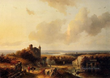 An Extensive River Landscape With Travellers Dutch Barend Cornelis Koekkoek Oil Paintings