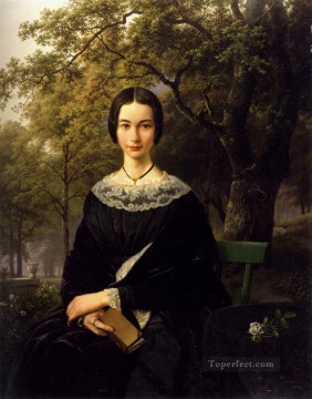 Portrait Of A Young Lady Dutch landscape Barend Cornelis Koekkoek Oil Paintings