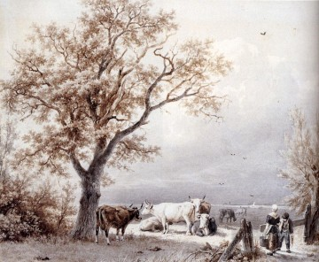 Cows In A Sunlit Meadow Dutch landscape Barend Cornelis Koekkoek Oil Paintings