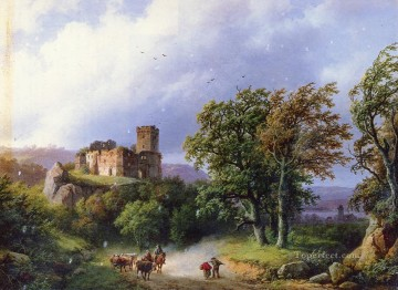 Dutch 1803 to 1862 The Ruined Castle Dutch landscape Barend Cornelis Koekkoek Oil Paintings