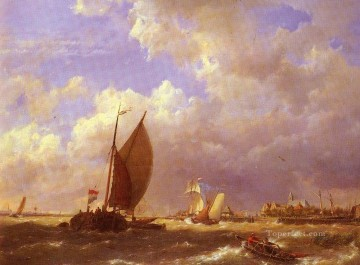 Dommelshuizen Cornelis Christiaan A Sunlit Dock Hermanus Snr Koekkoek seascape boat Oil Paintings