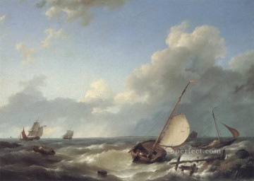 boat art painting - Shipping in a Stiff Breeze Hermanus Snr Koekkoek seascape boat