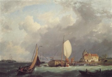 boat art painting - Shipping off the Dutch Coast Hermanus Snr Koekkoek seascape boat