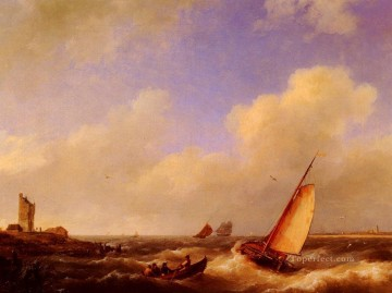 boat art painting - The Scheldt River At Flessinghe Hermanus Snr Koekkoek seascape boat