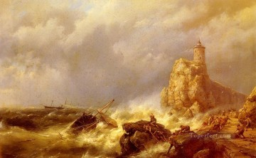 boat art painting - A Shipwreck In Stormy Seas Hermanus Snr Koekkoek seascape boat