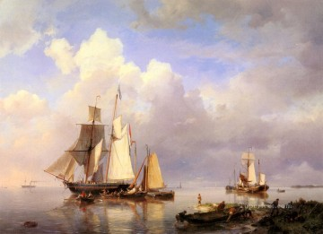 Vessels At Anchor In Estuary With Fisherman Hermanus Snr Koekkoek seascape boat Oil Paintings