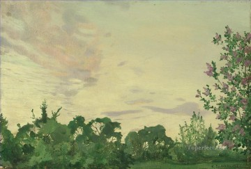 Konstantin Somov Painting - Twilight Evening landscape with a lilac bush Konstantin Somov
