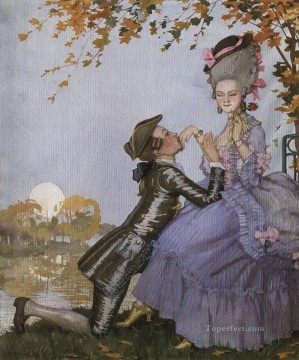 Konstantin Somov Painting - a youth on his knees in front of a lady 1916 Konstantin Somov