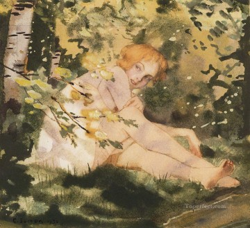 Konstantin Somov Painting - girl under the sun Konstantin Somov