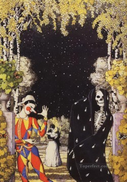 Artworks by 350 Famous Artists Painting - harlequin and death Konstantin Somov_1