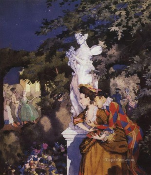 Konstantin Somov Painting - in love with harlequin Konstantin Somov