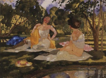 Artworks by 350 Famous Artists Painting - on the grass Konstantin Somov