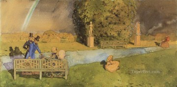 Artworks by 350 Famous Artists Painting - promenade after rain 1 Konstantin Somov