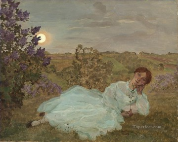 Artworks by 350 Famous Artists Painting - repose at sunset Konstantin Somov