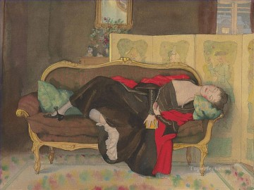 Artworks by 350 Famous Artists Painting - Lady lying on a divan Konstantin Somov