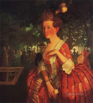 Konstantin Somov Painting - a young girl in a red dress girl with a letter Konstantin Somov