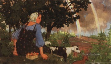 Konstantin Somov Painting - girl with mushroom under rainbow Konstantin Somov