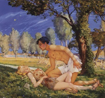 Konstantin Somov Painting - illustration to the novel daphnis and chloe 4 Konstantin Somov