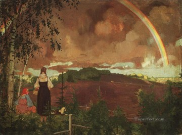 Artworks by 350 Famous Artists Painting - landscape with two peasant girls and a rainbow Konstantin Somov