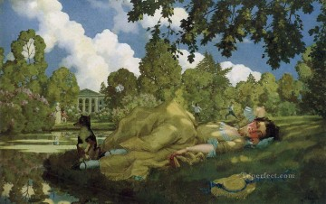 Konstantin Somov Painting - sleeping young woman in park Konstantin Somov